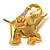 Gold Plated Crystal Elephant Brooch