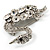 Rhodium Plated Diamante Swan Brooch (Clear) - view 3