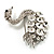 Rhodium Plated Diamante Swan Brooch (Clear) - view 5