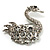 Rhodium Plated Diamante Swan Brooch (Clear) - view 6