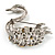 Rhodium Plated Diamante Swan Brooch (Clear) - view 7
