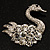 Rhodium Plated Diamante Swan Brooch (Clear) - view 2