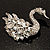 Rhodium Plated Diamante Swan Brooch (Clear) - view 8