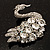 Rhodium Plated Diamante Swan Brooch (Clear) - view 4