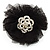 Black Crystal Net Floral Brooch
