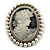 Classic Simulated Pearl Cameo Brooch (Silver Tone)