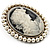Classic Simulated Pearl Cameo Brooch (Silver Tone) - view 3