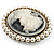 Classic Simulated Pearl Cameo Brooch (Silver Tone) - view 5