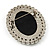 Classic Simulated Pearl Cameo Brooch (Silver Tone) - view 6