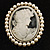 Classic Simulated Pearl Cameo Brooch (Silver Tone) - view 2