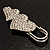 Vintage Swarovski Crystal Heart Pin Brooch (Silver Finish) - view 6