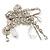 'Filigree Flower, Crystal Tassel & Acrylic Bead' Charm Safety Pin Brooch (Silver Tone)