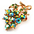 Tiny Grape-Design Light Green Crystal Pin Brooch (Gold Tone) - view 3