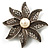 Antique Silver Simulated Pearl Crystal Flower Brooch - view 9