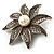 Antique Silver Simulated Pearl Crystal Flower Brooch - view 4