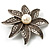 Antique Silver Simulated Pearl Crystal Flower Brooch - view 2