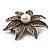 Antique Silver Simulated Pearl Crystal Flower Brooch - view 6