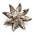 Antique Silver Simulated Pearl Crystal Flower Brooch - view 8