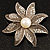 Antique Silver Simulated Pearl Crystal Flower Brooch - view 3