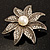 Antique Silver Simulated Pearl Crystal Flower Brooch - view 5