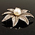 Antique Silver Simulated Pearl Crystal Flower Brooch - view 7