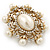 Antique Gold Filigree Light Cream Simulated Pearl Corsage Brooch - 60mm L - view 11