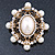 Antique Gold Filigree Light Cream Simulated Pearl Corsage Brooch - 60mm L - view 2