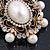 Antique Gold Filigree Light Cream Simulated Pearl Corsage Brooch - 60mm L - view 3