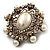 Antique Gold Filigree Light Cream Simulated Pearl Corsage Brooch - 60mm L - view 14