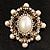 Antique Gold Filigree Light Cream Simulated Pearl Corsage Brooch - 60mm L - view 13