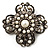 Vintage Filigree Simulated Pearl Cross Brooch (Antique Silver)
