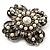 Vintage Filigree Simulated Pearl Cross Brooch (Antique Silver) - view 8