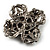 Vintage Filigree Simulated Pearl Cross Brooch (Antique Silver) - view 7