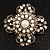 Vintage Filigree Simulated Pearl Cross Brooch (Antique Silver) - view 2