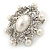 Silver Tone Filigree Light Cream Simulated Pearl Corsage Brooch - 60mm L - view 5