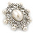 Silver Tone Filigree Light Cream Simulated Pearl Corsage Brooch - 60mm L - view 2