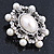 Silver Tone Filigree Light Cream Simulated Pearl Corsage Brooch - 60mm L - view 7