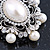 Silver Tone Filigree Light Cream Simulated Pearl Corsage Brooch - 60mm L - view 4