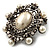 Silver Tone Filigree Light Cream Simulated Pearl Corsage Brooch - 60mm L - view 10