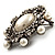 Silver Tone Filigree Light Cream Simulated Pearl Corsage Brooch - 60mm L - view 12