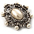 Silver Tone Filigree Light Cream Simulated Pearl Corsage Brooch - 60mm L - view 15