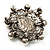 Silver Tone Filigree Light Cream Simulated Pearl Corsage Brooch - 60mm L - view 14
