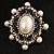 Silver Tone Filigree Light Cream Simulated Pearl Corsage Brooch - 60mm L - view 9