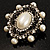 Silver Tone Filigree Light Cream Simulated Pearl Corsage Brooch - 60mm L - view 11