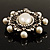 Silver Tone Filigree Light Cream Simulated Pearl Corsage Brooch - 60mm L - view 13