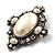 Vintage Oval Simulated Pearl Diamante Brooch (Antique Silver) - view 4