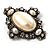 Vintage Oval Simulated Pearl Diamante Brooch (Antique Silver) - view 6