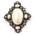Vintage Oval Simulated Pearl Diamante Brooch (Antique Silver) - view 7