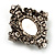 Vintage Oval Simulated Pearl Diamante Brooch (Antique Silver) - view 5