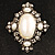 Vintage Oval Simulated Pearl Diamante Brooch (Antique Silver) - view 2